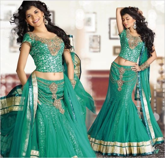 http://www.bharatplaza.com/designer-embellished-lehnga-choli.html#.TuKcqQY2pQk.mailto     Sea Green, but she's still a fan! Bridesmaid Dress 3