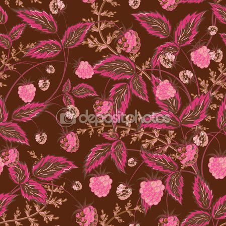 Colored raspberries seamless pattern. Seamless pattern with colored hand draw graphic pink brown raspberries and leaves. Vector illustration. — Ilustracja stockowa #96670322