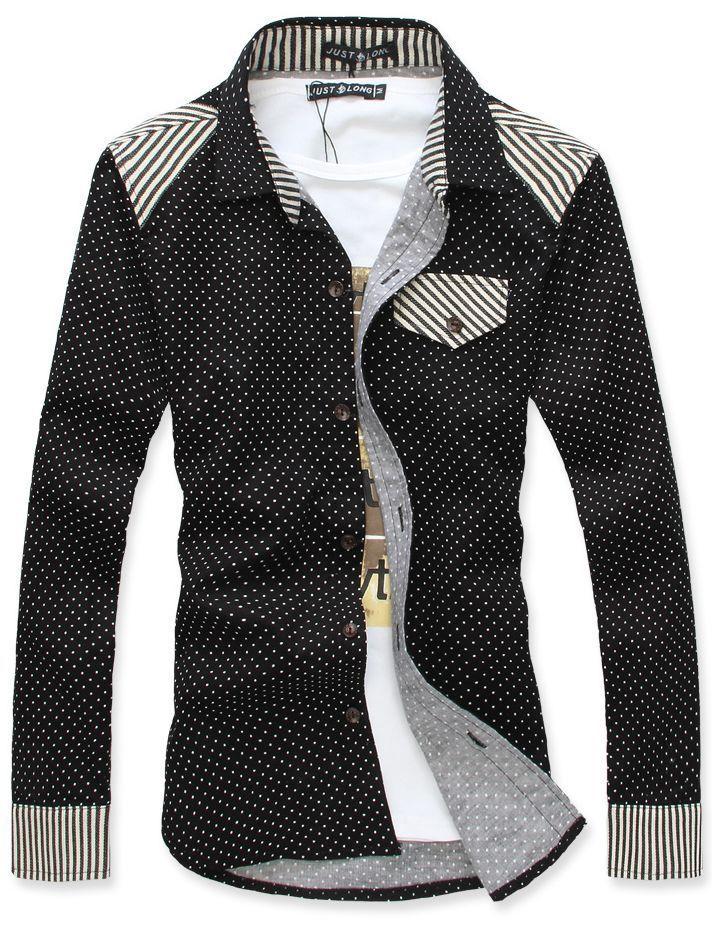 Tattee Boy Clothes | Men\u0027s Dotted Corduroy Long Sleeve Shirt