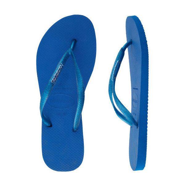 Havaianas Women's Slim Logo Metallic Flip Flop (£12) ❤ liked on Polyvore featuring shoes, sandals, flip flops, blue sandals, blue flip flops, metallic shoes, logo sandals and metallic flip flops