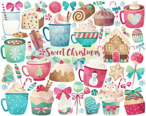 Watercolor Christmas Clipart  Christmas by KennaSatoDesigns