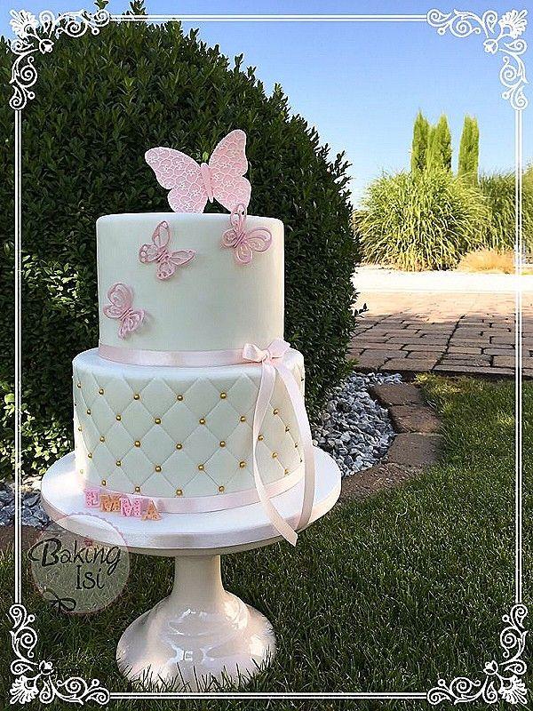 Afbeeldingsresultaat voor pink baby christening cake