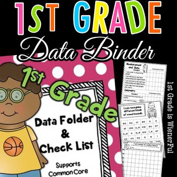 1st Grade Data binder - folder Supports common core! Some pages are editable! FREEBIE in the Preview! Updated on July 21, 2015 IF you have this packet, please go to My Purchases and re-download. SOME PAGES ARE EDITABLE!