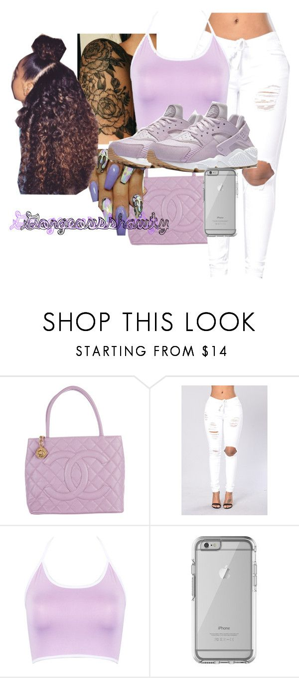 """Huareche;Thistle💜☮️🎶"" by gorgeousshawty ❤ liked on Polyvore featuring Chanel, WithChic, NIKE, OtterBox, nails, iphone, hair and tattoo"