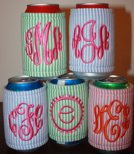 Seersucker Monogram Koozie by mercmarie on Etsy. $12.00