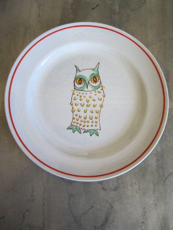 Vintage Arabia  Plate Hand Painted Owl Animal Kingdom Design