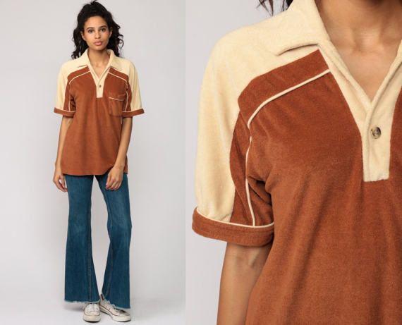 70s Shirt Terry Cloth Shirt Polo Half Button Up 80s Polo