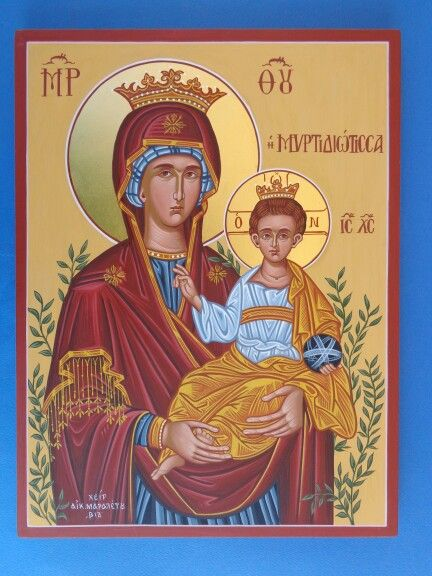Virgin and Child (Myrtidiotissa) 50 x 30 cm gold leaf 23k By www.anatasipsixis.com