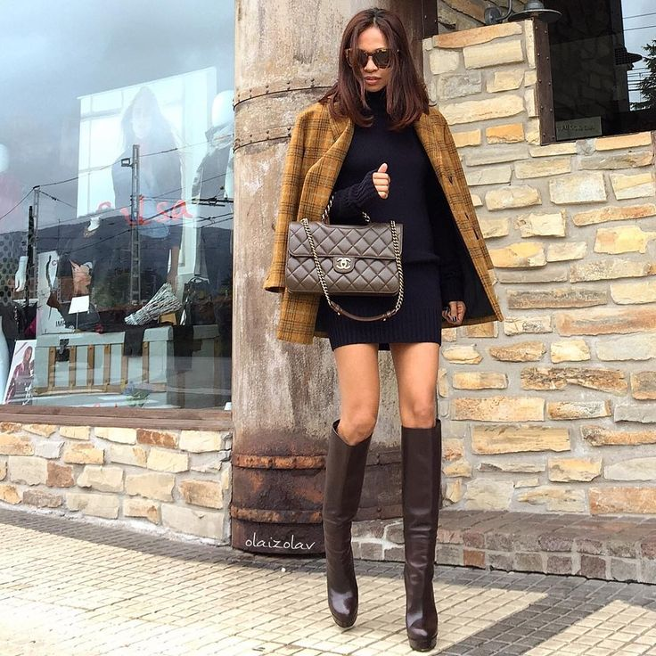 Street chic with short coat, Zara sweater dress, Chanel bag and Gucci boots.