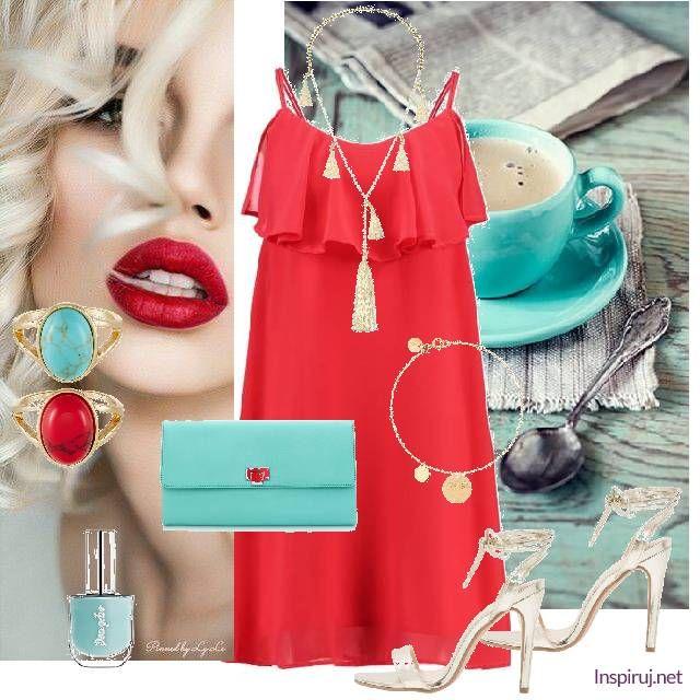 Inspiruj.net - moda, ubrania . W czerwieni - piękna letnia czerwona sukienka w połączeniu z turkusem