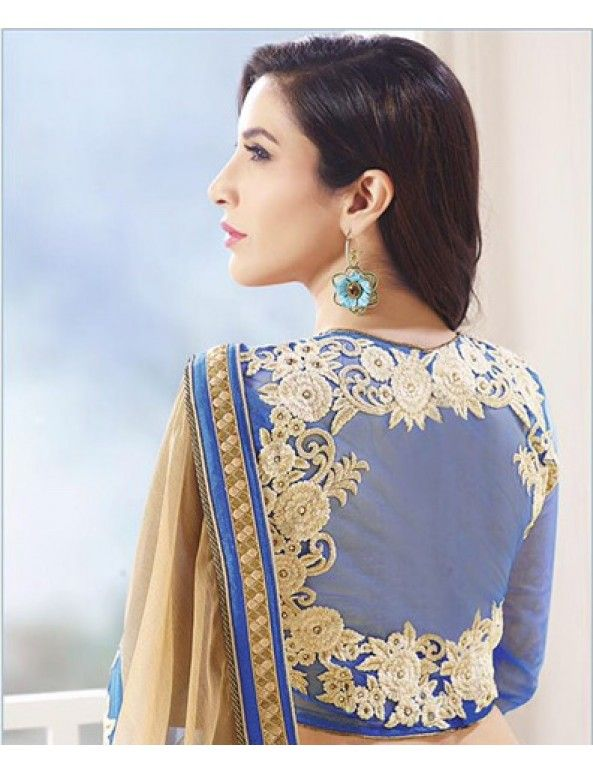 Sophie Blue And Beige Shimmer Chiffon Embroidered Saree