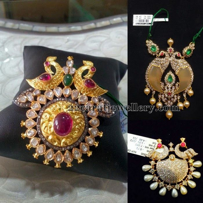 Jewellery Designs: Light Weight Peacock Pendants