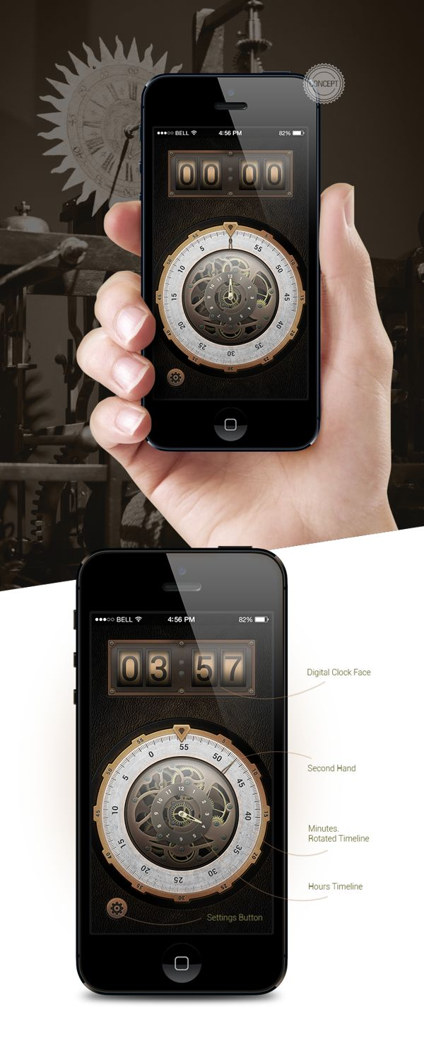Concept of Steampunk Timer Application for iPhone