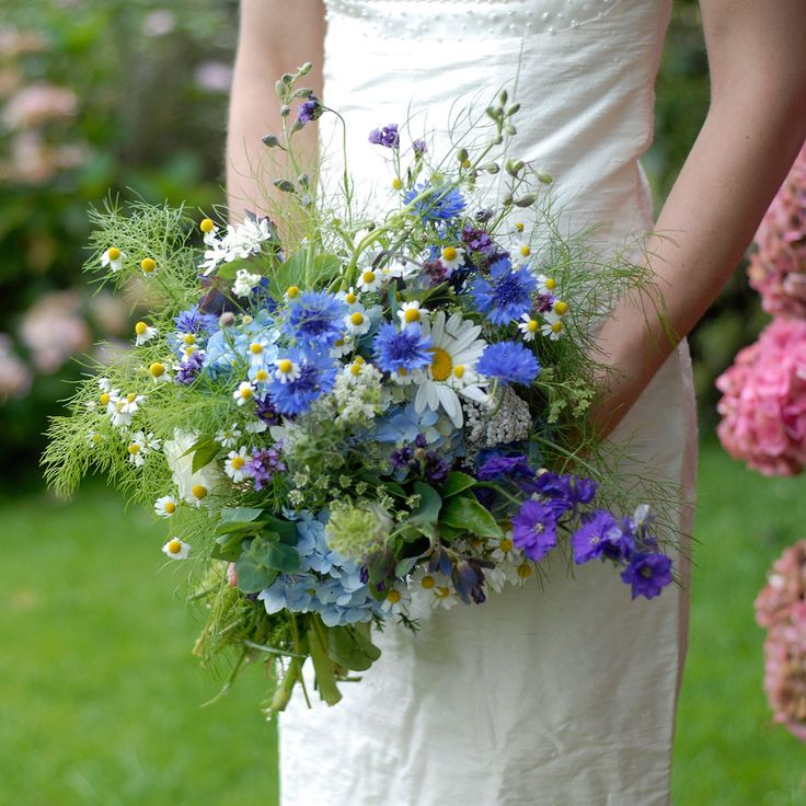 yellow and blue bridal bouquets | English Grown and In Season Wedding Flowers