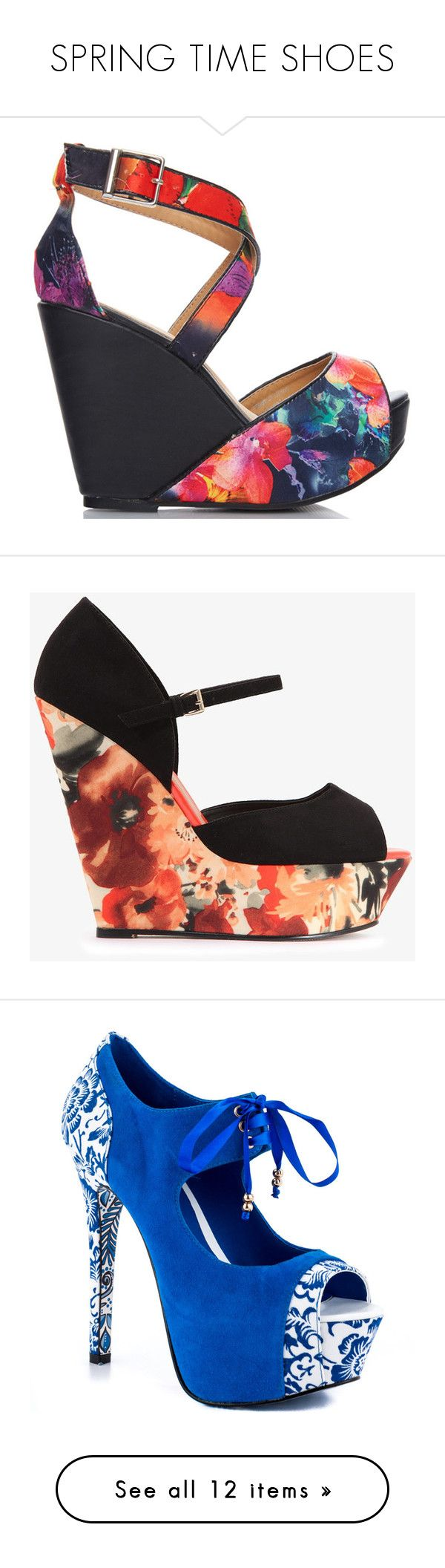 """""""SPRING TIME SHOES"""" by g-babydoll03 on Polyvore featuring shoes, sandals, floral wedge sandals, strappy high heel sandals, high heel platform sandals, high heel wedge sandals, high heel sandals, wedge heeled shoes, flower print shoes and wedge shoes"""
