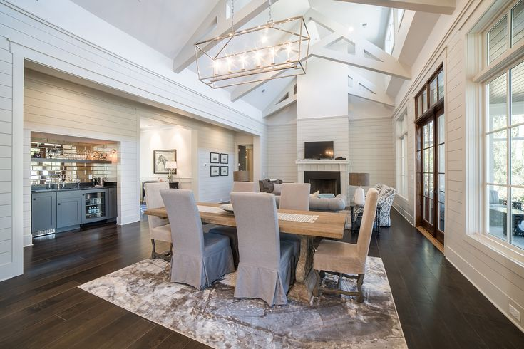 Dramatic Ceiling | Lowcountry Architecture | Open Concept Floorplan | Spacious Living Room | Elegant Living Area | Southern Style Interior Design Inspiration