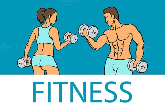 Fitness with muscled man and woman by Rommeo79 on @creativemarket