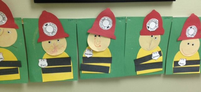 adorable Fireman Craft Give them the pieces to glue on.  I also printed out a fireman symbol to glue on the hat and added their names to the badges
