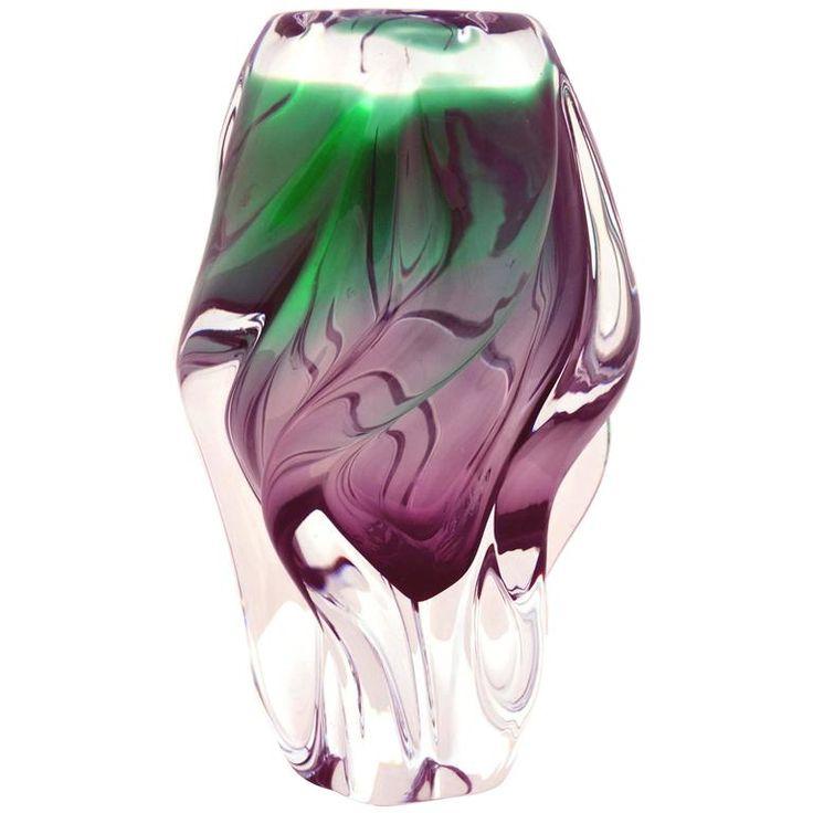 Sklo Union Chribska Glassworks Sommerso Modern Vase | 1stdibs.com