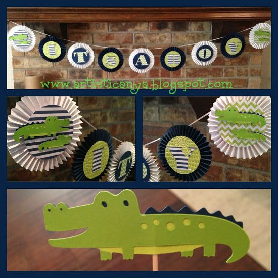 {Artistic Anya Designs} Alligator Themed Baby Shower- Pinwheel Banner and Cupcake Toppers