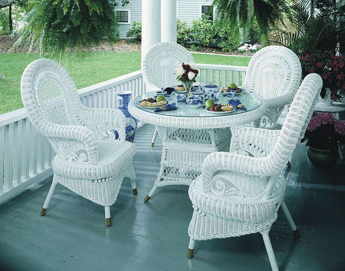 Victorian Wicker Dining Set Of 5 Wicker Paradise White