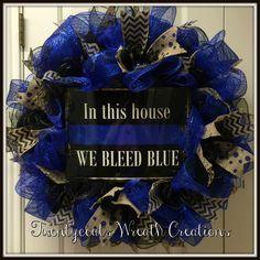 We bleed blue deco mesh police/law enforcement wreath by Twentycoats Wreath Creations (2016)
