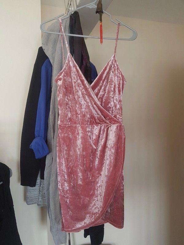 379c61c0dc8 Blush Pink Velvet Mini Wrap Dress
