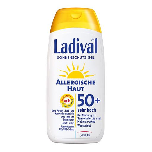 """LADIVAL allergische Haut Gel LSF 50+ 200 ml. Ladival® Allergische Haut ist der ideale Sonnenschutz für alle Personen, die zu allergischen Hautreaktionen in der Sonne neigen. Die leichten Hydrodispersionsgele auf Wasserbasis enthalten weder Fette noch Emulgatoren – die häufigsten Auslöser für die wohl bekannteste Form der Sonnenallergie, die so genannte """"Mallorca-Akne"""". Juckende Bläschen und Quaddeln in der Sonne können so vermieden werden."""