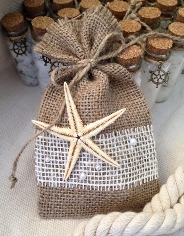 Burlap Bag Beach Wedding Favor Handmade Bags