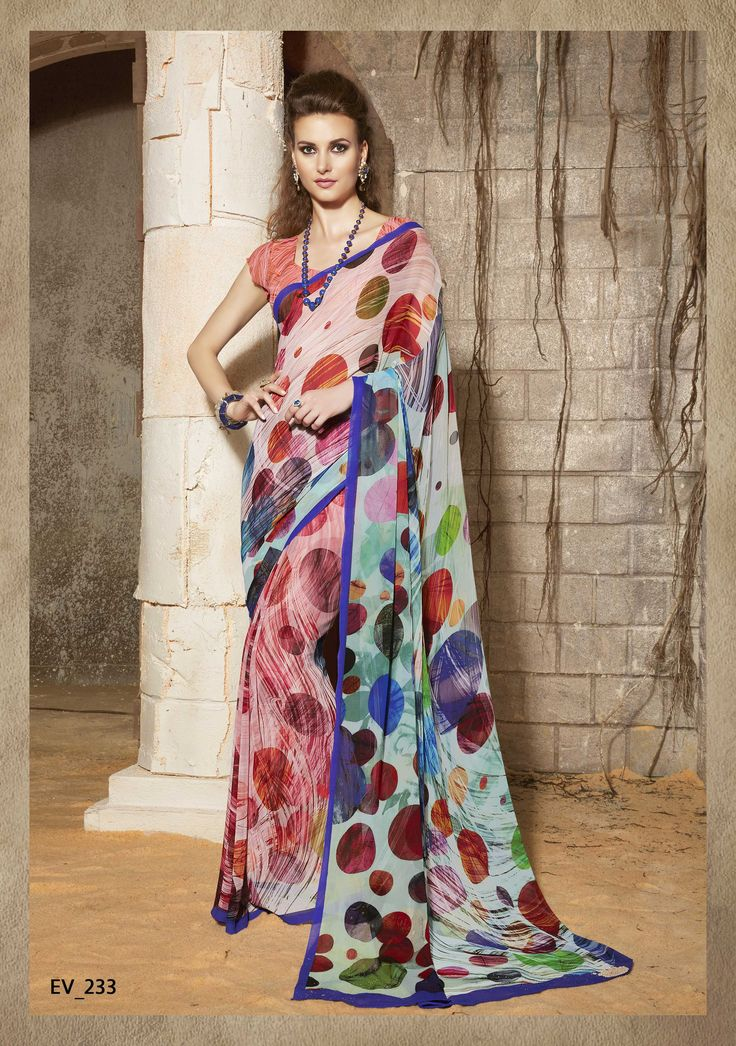 Gorgeous Coral and Purple Printed Saree