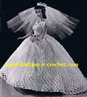 Free crochet wedding dress pattern, beautiful wedding gown in crochet for dolls