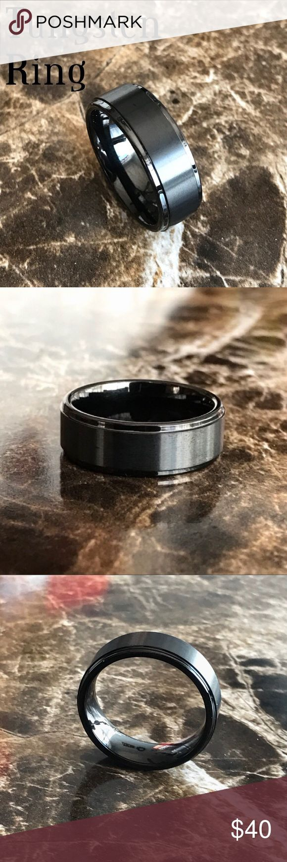 8MM Black Tungsten Carbide Ring Wedding Band Brand new No trades  Sizes available 6.5/7.5/8.5/9.5/10.5/11.5  Material: Tungsten Carbide Band Width: 8MM Fit: Comfort Finish: Brushed Color: Black  Tungsten is two times tougher than steel and twice the density of steel. It will not rust, tarnish or turn your finger green.                                              ~Ring box included ~ Accessories Jewelry