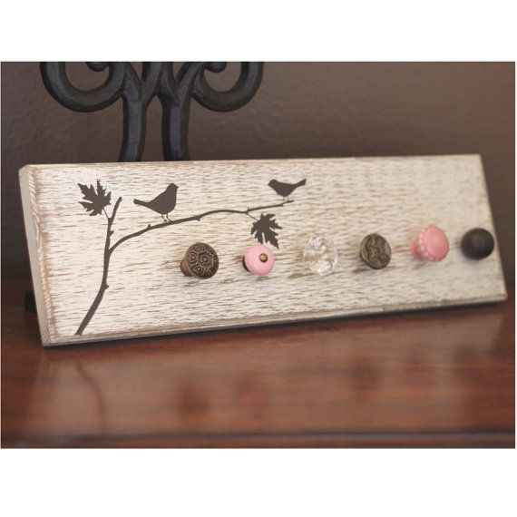 birds on branch vinyl on jewelry-scarf rack. - oliver & lily