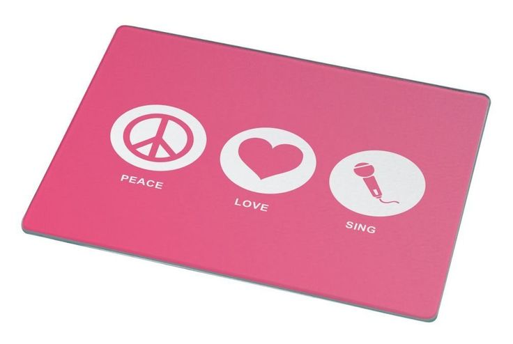Rikki Knight Peace Love Sing Tropical Pink Color Large Glass Cutting board Workspace Saver (Ideal Gift for Barbecues Grills or any occassion) * Special  product just for you. See it now! : Cutlery Knife Accessories