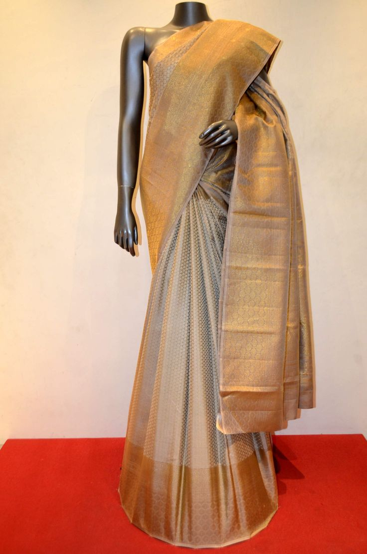Tussar Kanjeevaram Silk Saree With Grand Designer Ethnic Zari Border Product Code: AC200495 Online Shopping: http://www.janardhanasilk.com/index.php?route=product/product&search=AC200495&description=true&product_id=4725