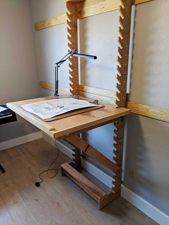 I Made A Desk With Adjustable Height And Angle Diy Furniture Art Desk Furniture