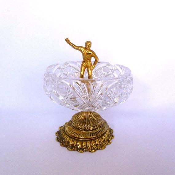 Vintage Cut GLASS TROPHY DISH / Repurposed Baseball Trophy