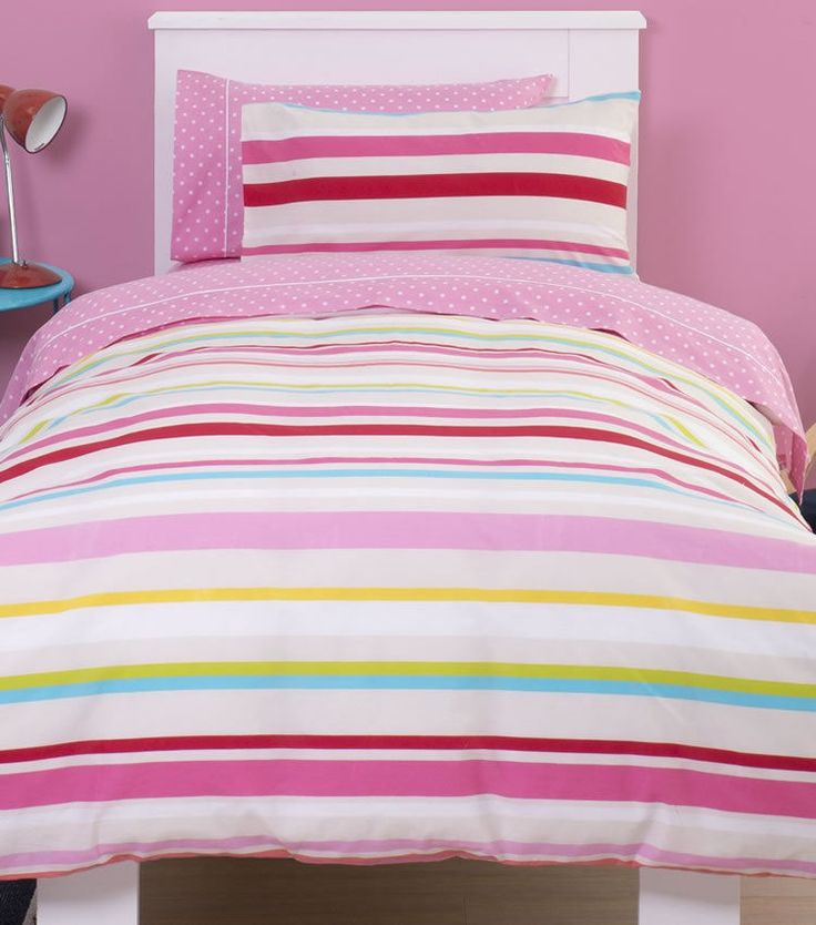 Colourful girls bedding set from Just Kidding which is suitable for a single sized bed. This fabulous and funky looking bed set has a multitude of different width horizontal stripes in a mix of colours including pink, red, blue and yellow amongst others. | eBay!