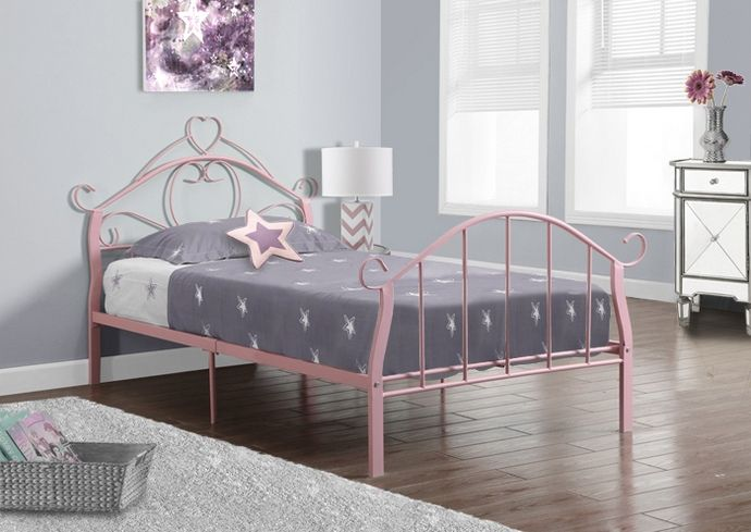 MSI 2392P Pink Metal Twin Size Bed Frame Only