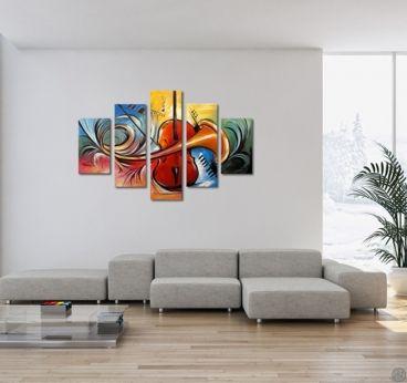 Tableau peinture contemporain en plusieurs panneaux au - Tableau contemporain colore ...