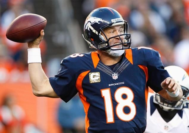 Peyton Manning throws for 270 yards and three touchdowns in a win over San Diego.