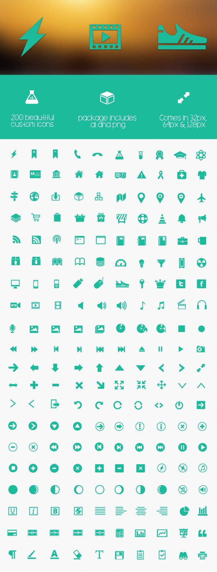 200 Free Metro Icons Set