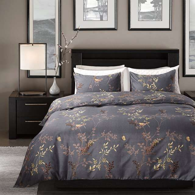 Winlife Luxurious Gray Leaves Duvet Covet Set Hidden Zipper Design