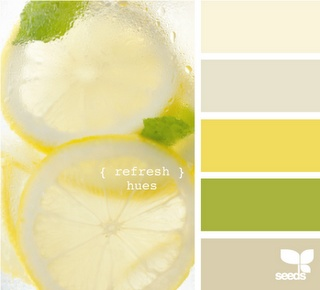 Perfect palette. Both our fav. colors and sooo clean and fresh. would be great for a kitchen/living room area