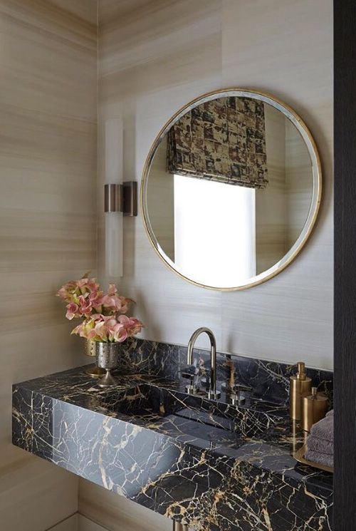This marble sink top adds a nice chic look to any …