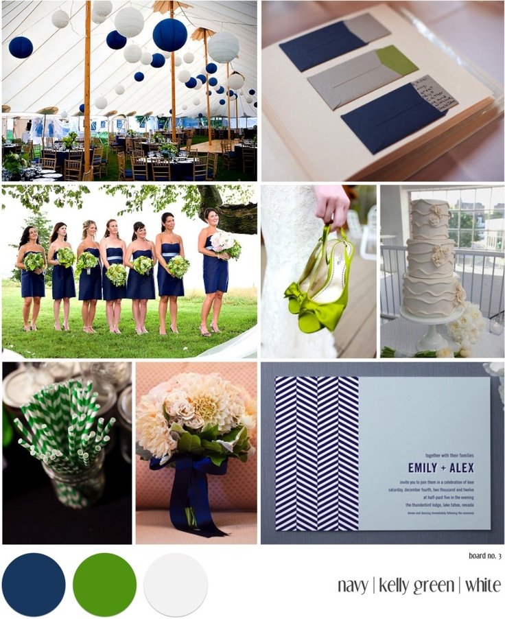 Color combo inspiration of navy, green, and white. The bottom middle image would make a lovely bridesmaid bouquet. Cream or white dahlias with a deep green collar of leaves to modernize it, and the whole thing finished off with a blue satin ribbon.