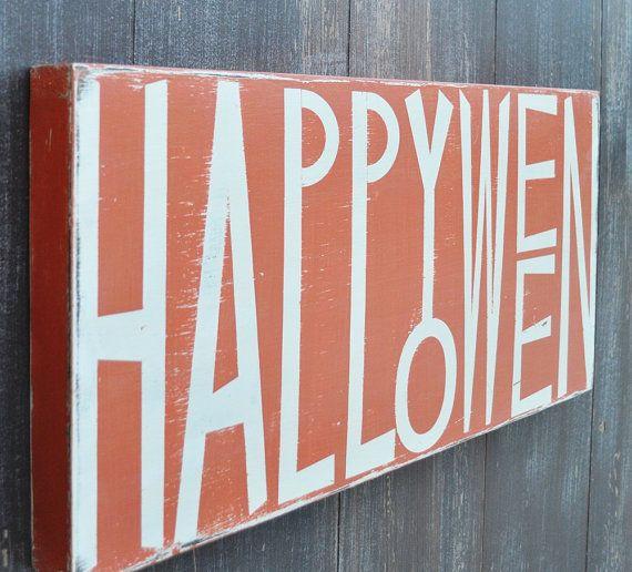 Halloween Decoration Custom Wood Sign Typography Word Art - Happy Halloween Home Decor