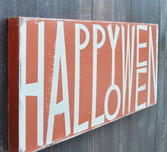 Halloween Decoration Custom Wood Sign Typography Word Art - Happy Halloween Home Decor