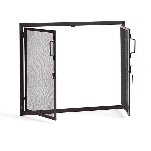 Pottery Barn Industrial Fireplace Door Screen ($899) ❤ liked on Polyvore featuring home, home decor, fireplace accessories, black, hearth screen, black fireplace screen, fireplace screens and door screen