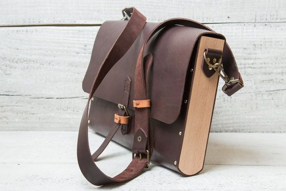 """Leather + wood briefcase messenger bag. Hand stitched dark brown color for documents, papers, laptop, iPad Air, Macbook 11"""" wooden"""